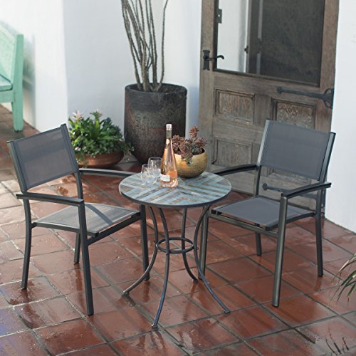 3-Piece Patio Bistro Set with Seating for 2. Sling Chair and Stone Table Patio Bistro Set. Steel Frame Outdoor Bistro Table and Hand-Laid Stone Mosaic Tabletop with Herringbone Pattern