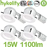 Hykolity 6 inch LED Recessed Downlight Kit, 15W 1100lm 3000K Warm White Dimmable Remodeling LED Downlight Kit, 120V-277V, Airtight& IC Rated Wet Location, ETL&Energy Star- 4 Pack