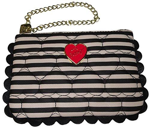 Betsey Johnson Women's/Girl's *Scallop*Wristlet, Black/White Polka Dots,Stripes