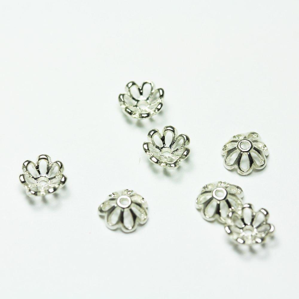 8pcs 925 Sterling silver Jewelry Findings Bead cap,7mm Sun flower cap,1mm hole
