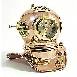 Desktop Clock - Diving Helmet Nautical Clock - Divers Helmet Clock - Nautical Decor