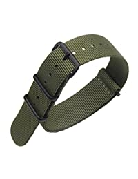 20mm Army Green Luxury Exquisite Men's one-piece NATO style Nylon Perlon Watch Bands Straps Textile