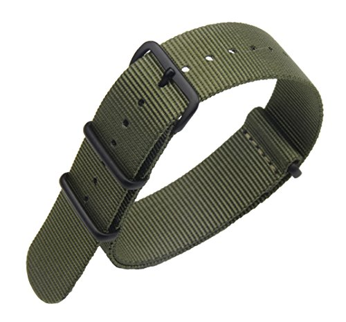 18mm Army Green High-end Superior Nato style Ballistic Nylon Watch Band Strap Replacement for Men Braided
