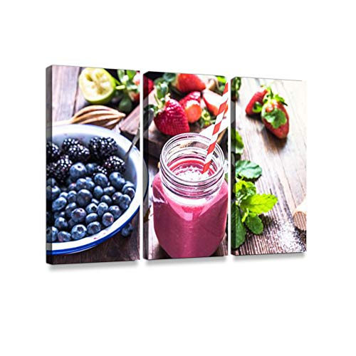 Well Being and Weight Loss Concept, Berry Smoothie. Print On Canvas Wall Artwork Modern Photography Home Decor Unique Pattern Stretched and Framed 3 Piece (Best Weight Loss Homemade Smoothies)