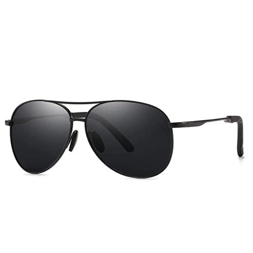 fd3d7b49309f Amazon.com  Polarized Classic Aviator Sunglasses for Men and Women 100% UV  protection shades Mirrored Lens Metal Frame with Spring Hinges (Black-Black)   ...