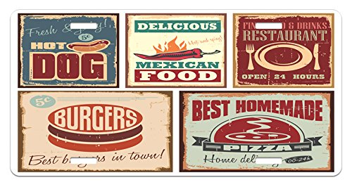 Aged Tin (Retro License Plate by Ambesonne, Nostalgic Tin Signs and Mexican Food Prints Aged Advertising Logo Style Artistic Design, High Gloss Aluminum Novelty Plate, 5.88 L X 11.88 W Inches, Multi)