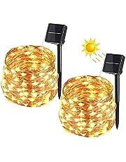 Luci solari da esterno, (100 modalità LED 8) Luci da giardino solari, stringa solare, Accensione automatica(Due confezioni-Warm Yellow-9)