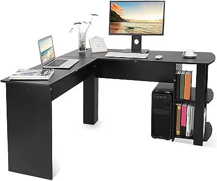 GOTOTOP - Escritorio de madera para ordenador, con estantería, porta PC y espacio para el teclado, en forma de L. Para estudio u oficina. Medidas: 136 ...