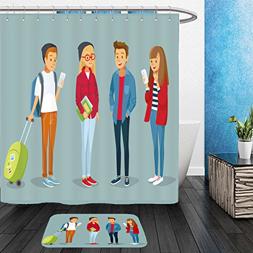 Tired Student Costume (Vanfan Bathroom 2 Suits 1 Shower Curtains &  1 Floor Mats vector students with gadgets and books traveling and studying 473197069 From Bath room)
