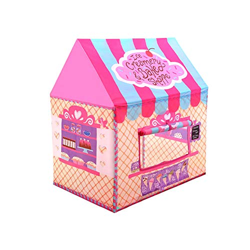 Kids Play Tent for Boys and Girls - Indoor / Outdoor Pop-Up Tent Playhouse, Roll-Up Doors and Window and Removable Floor Panel (Bakeshop)