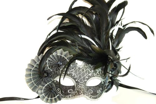 Venetian Side Feather Mask (Black and Silver Finish Venetian Mask with Classy Mardi Gras Decor and Side Feathers)