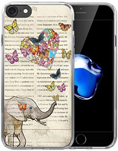 Case for iPhone 7 Elephant/Case for iPhone 8/IWONE Designer Non Slip Rubber Durable Protective Skin Cover Shockproof Compatible for iPhone 7/8 Vintage Funny Cute Elephant Design Pattern Animal