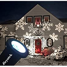 Jieyutek Moving Snowflake Spotlight Laser Lights Indoor/outdoor IP65 Waterproof LED Landscape Projector Light Christmas Holiday Garden Decoration Lamps White Snowflakes