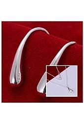 925 S Plated water drop Earring & Necklace Set Women Jewelry