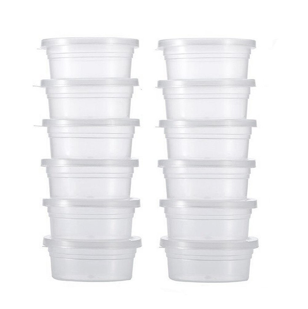 Tuscom 12 Pc Translucent Sealability No Leaks or Drips Cotton Mud Slime Foam Ball Storage Cups Containers (Clear)