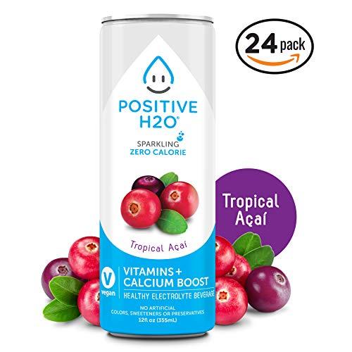Positive H2O Sparkling Tropical Açaí (24 Count, 12 Fl Oz Each)