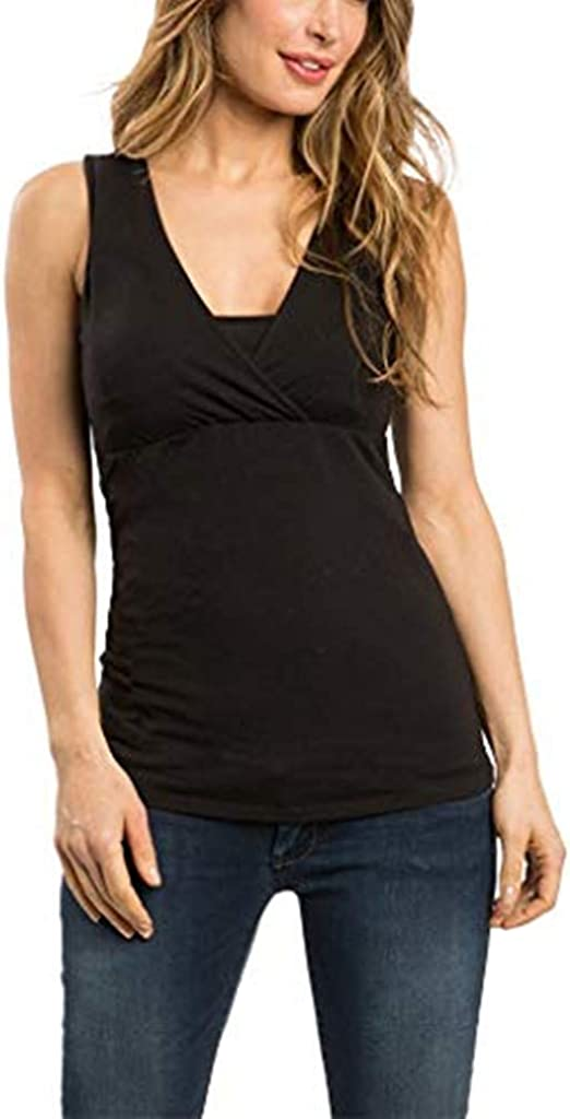 Amazon.com: Maternity Clothes Summer Nursing Top Sleeveless ...