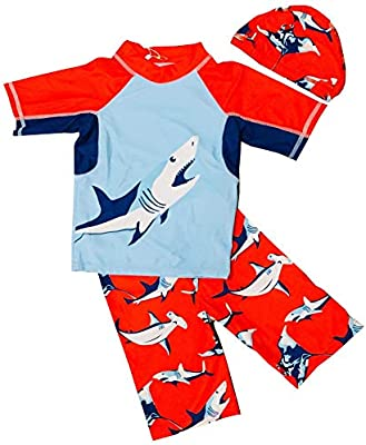 Baby Toddler Boys Two Piece Rash Guard Swimsuits Kids Long Sleeve Sunsuit Swimwear Sets Bathing Suit with Hat