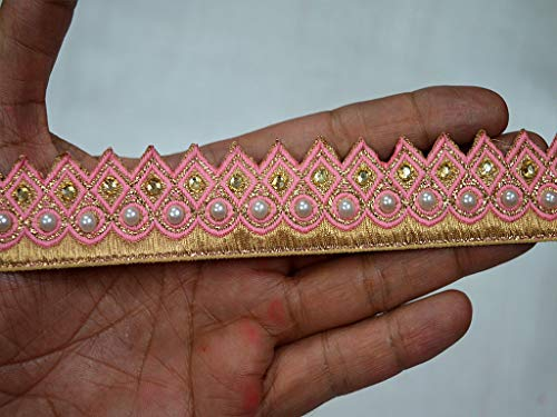 Dazzling Saree - Wholesale Pink Traditional Trims by 9 Yard Indian Laces Saree Border Crafting Ribbon Decorative Gold kundan Stone Work Sewing Accessories