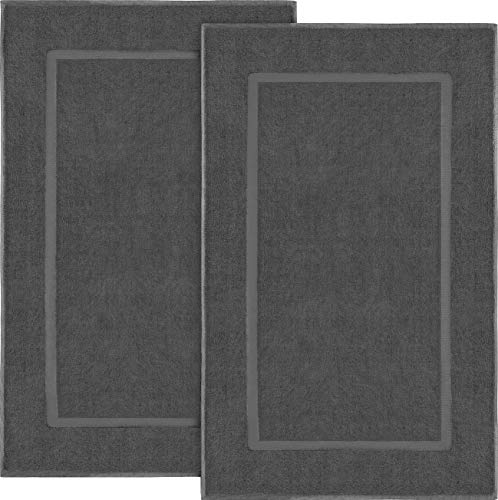 Utopia Towels Cotton Banded Bath Mats, 2 Pack (21 x 34 Inches), - Dark Grey Floor Mat