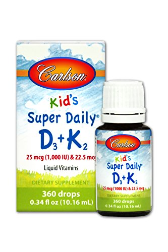 Carlson Kid's Super Daily D3 + K2, 25 mcg + 22.5 mcg, 360 Liquid Drops