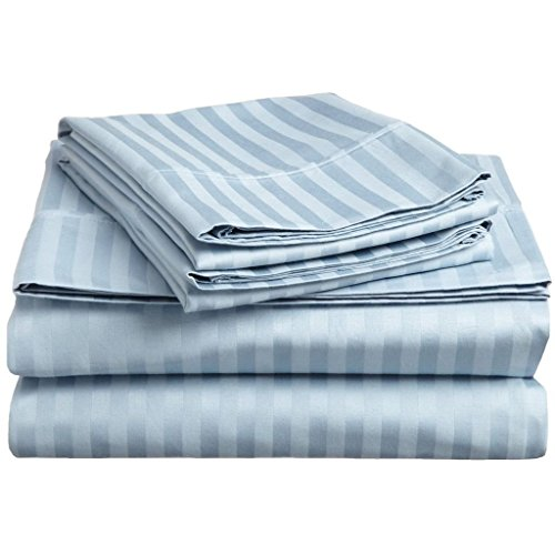 "Hotel Quality JB Linen 400 Thread Count 100% Egyptian Cotton Super Soft 4-Piece Sheet Set Queen Sleeper Sofa (60"" x 74"") Light Blue Striped Fit Up To 5"" inches Deep Pocket ."