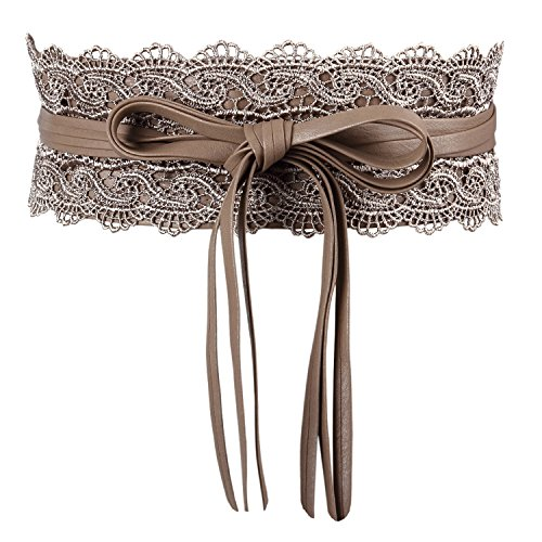 Women's Bowknot Faux Leather Wrap Around Self Tie Obi Cinch Waist Band Boho Belt ()