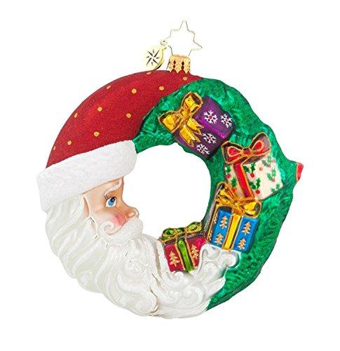 Christopher Radko Glass Crescent Christmas Presents Santa Wreath Ornament #1017880 - Radko Presents