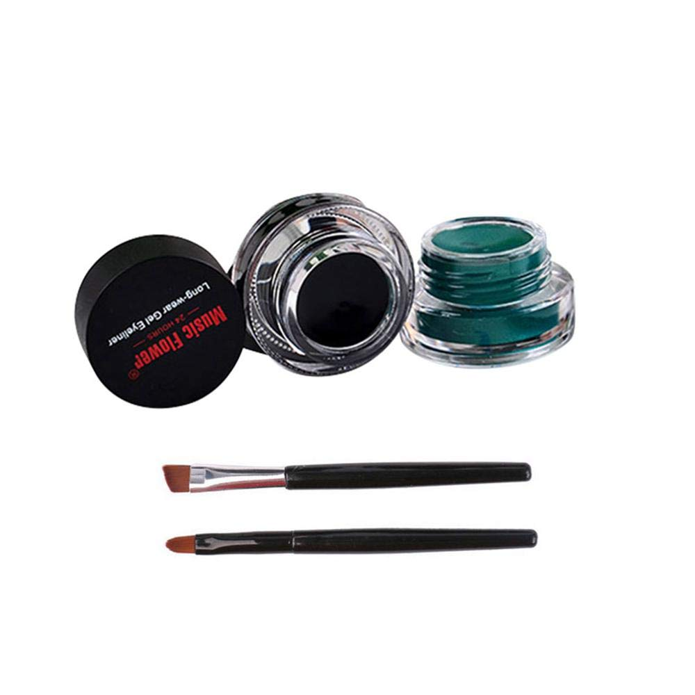 Kobwa Eyeliner Gel 2 in 1 Black and Green Set Waterproof Sweatproof and Anti-halation with 2pcs Eye Makeup Brushes