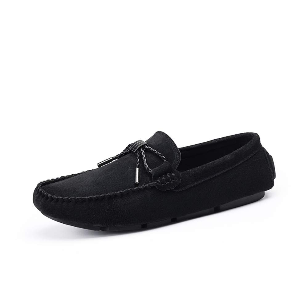 HYF Oxford Shoes Men's Moccasins Confortable Driving Loafer Genuine Leather Suede Vamp Slip on Leisure Shoes Business Shoes for Men (Color : Black, Size : 7 M US)