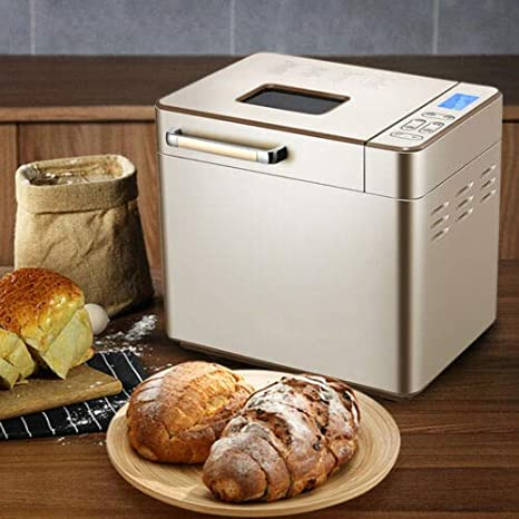 17 Programs Ceramic Pan Smart Touch Button 15 Hours Delay and 1 Hour Keep Warm 3 Crust Colors YW Automatic Bread Machine 2.2LB Stainless Steel Bread Maker with Fruit Nut Dispenser 3 Loaf Sizes