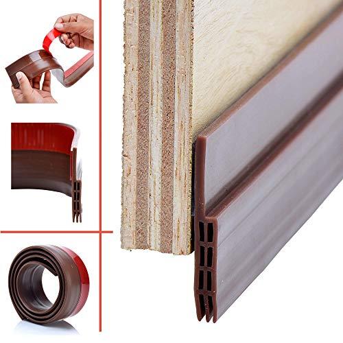 Strongman Tools | Door Draft Stopper Sweep for Exterior/Interior Doors, Weatherproofing Seal Strip Under Door Draft Blocker, Soundproofing Bottom Weather Stripping, Large, Brown | 1 Meter 2