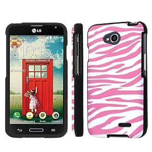 NakedShield LG Optimus L70 (White Pink Zebra) Total Hard Armor LifeStyle Phone Case