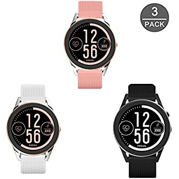 for Fossil Q Control Band, Lamshaw Classic Silicone Sport Replacement Straps for Fossil Gen 3 Sport Smartwatch (3 Pack)