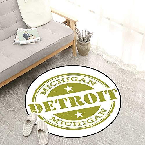 Detroit Decor Living Room Mat Aged Grunge Detroit Michigan Stamp Design with Stars Tourism Travel Door Floor Mat for Bedroom 4