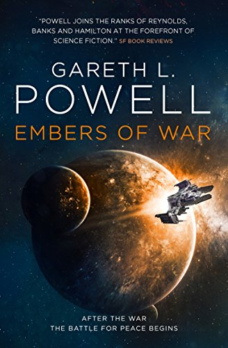Gareth L. Powell - Embers of War - a spaceship flies away from a moon orbiting a planet