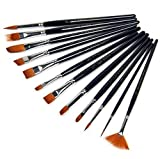 XONOR 12pcs Paint Brushes Set for Watercolor/Oil/Acrylic/Crafts/Rock & Face Painting(Black)