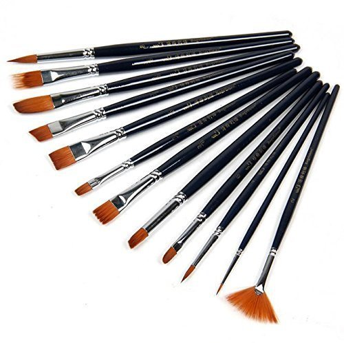 XONOR 12pcs Paint Brushes Set for Watercolor/Oil/Acrylic/Crafts/Rock & Face Painting(Black) by XONOR