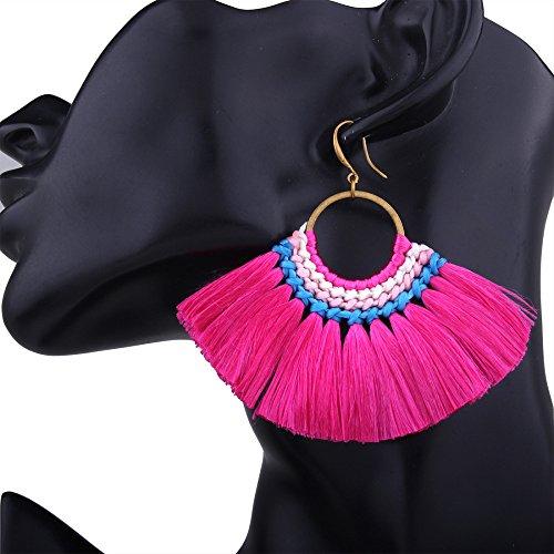 Boucles d'oreilles en maille de soie Vintage Bohème pour femme Boucles d'oreilles en forme de fan Fringe personnalisé Rosered