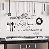 "Kitchen Decals - Bless The Food Before Us Wall Decal - Kitchen Vinyl Decal - Bless Our Family Decal - Kitchen Quotes - Vinyl Quote - Decals (46x26"" Tomato Red)"