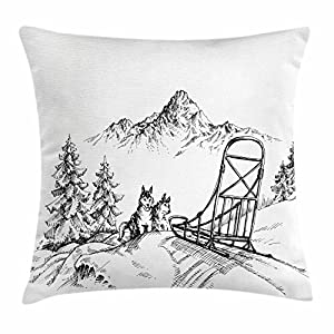 "Ambesonne Alaskan Malamute Throw Pillow Cushion Cover, Mountain Landscape in Winter Sledding Dogs Pine Trees Wilderness Art, Decorative Square Accent Pillow Case, 24"" X 24"", Charcoal and White 17"