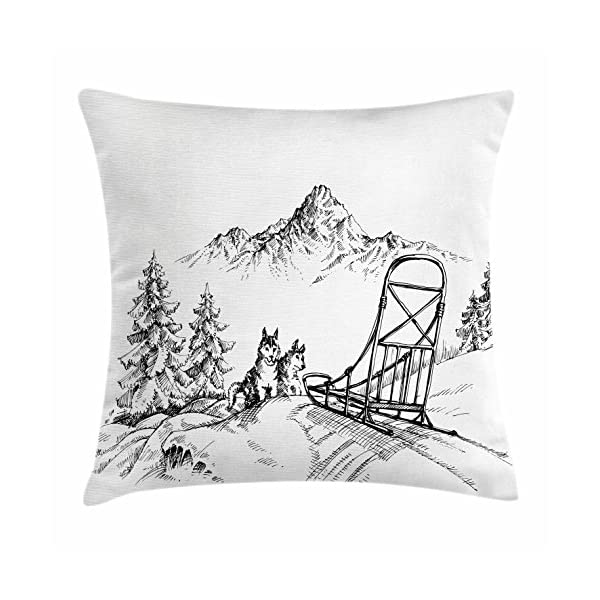 """Ambesonne Alaskan Malamute Throw Pillow Cushion Cover, Mountain Landscape in Winter Sledding Dogs Pine Trees Wilderness Art, Decorative Square Accent Pillow Case, 24"""" X 24"""", Charcoal and White 1"""