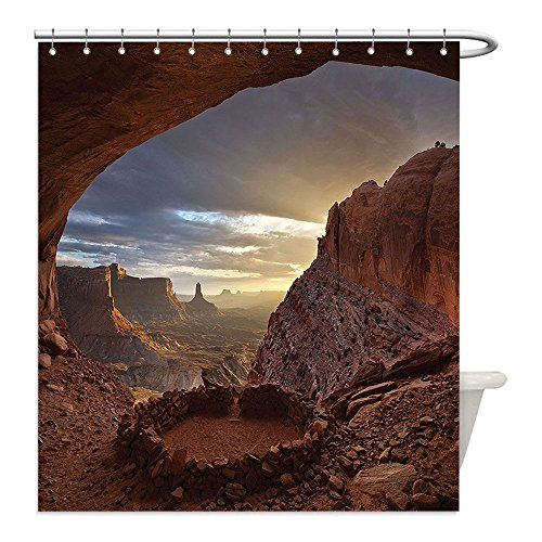 Liguo88 Custom Waterproof Bathroom Shower Curtain Polyester Natural Cave Decorations Collection Deep Ravine Canyon in Arozona Erosive Action Formation Dry Earth Sand Boho Decor Orange Decorative bath - Zelda Cave Dog Costume