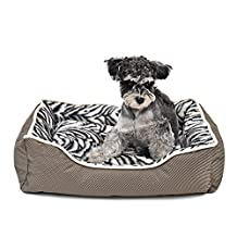 Clary Warm Pet Bed Removable Cushion Non-Slip Puppy Sofa Cat Cave Zebra Texture ( Size : XS )