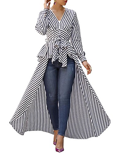 Ninimour Women V-Neck Striped Tie Up Shirt High Low Dip Hem Long Sleeve Blouse Black XL