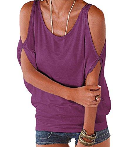 365 Corta Impero Scoperte Estive e Camicie Shopping Bluse Barca Viola Camicetta Donna a Spalle Unita Manica Stile Shirt Casual Scollo Top Tinta xFxgw