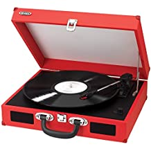 Audio Turntable, Red Portable 3-speed Record Player Usb Turntable Stereo