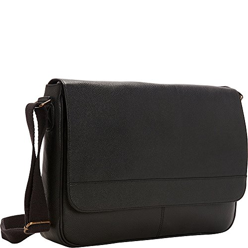 r-r-collections-leather-front-flap-laptop-messenger-bag-black