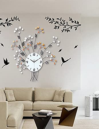 Amazon.com: PLLP Wall-Mounted Decorative Clock, Home Wall Clock,Floral Design Iron Wall Clock,Living Room Clock: Sports & Outdoors