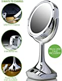 """Ovente Dual-Sided 6"""" Lighted Tabletop Makeup Mirror, Battery or Micro USB/Android Cable Operated"""